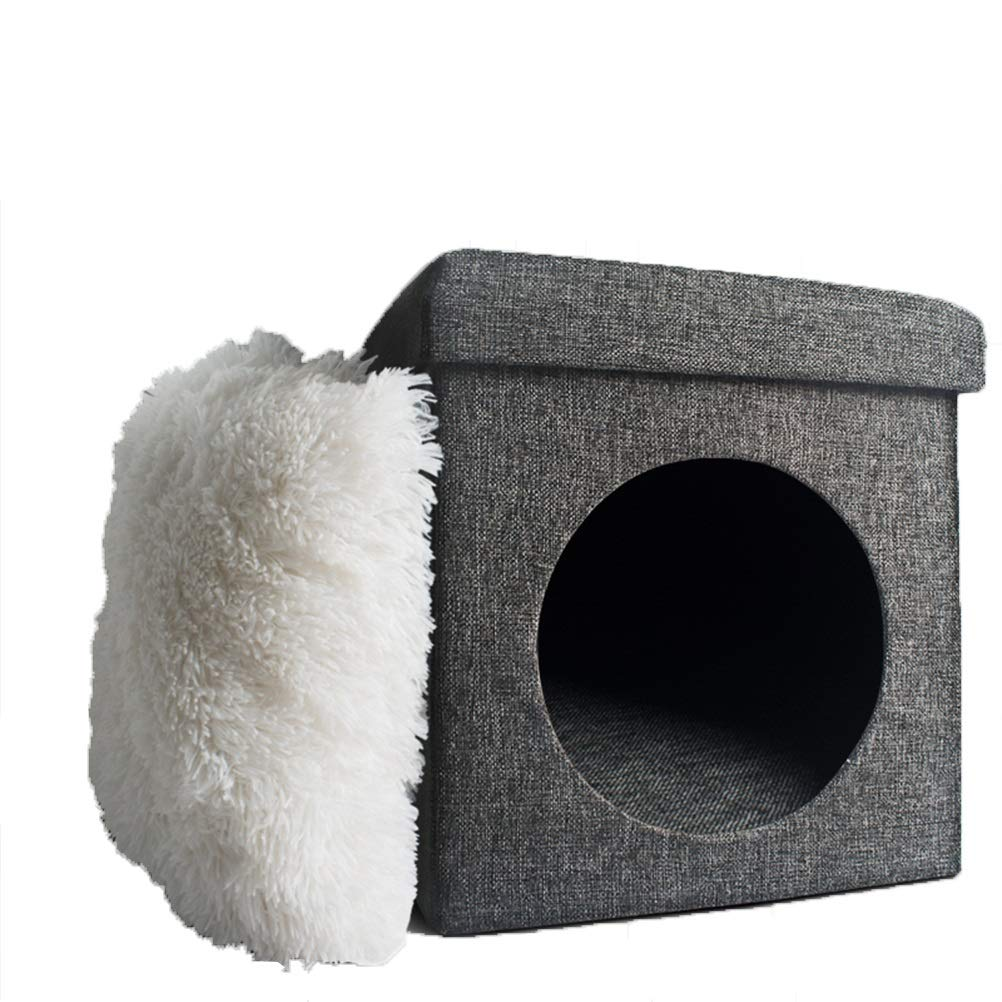 B Soft and Comfortable Firm Square cat Hole nest Creative Folding Sofa Small Stool Living Room cat Hole nest Closed Cat Toilet cat Room cat Stool Pet cat Dog cave (color   B)
