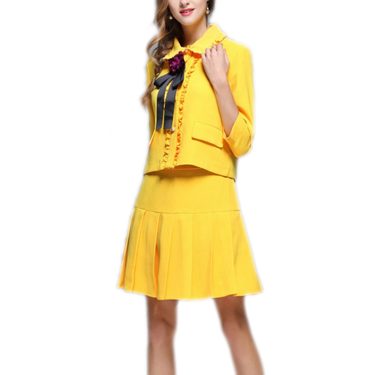 Weing Women's Sets Rose Appliques Short Jacket + Yellow Skirt Suit Gold XL