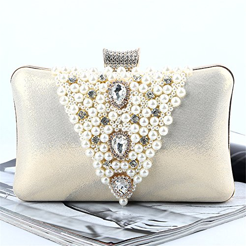 Bag Evening Rhinestone Beaded Hand Faux Clutch Pearl Bag Glitter Prom Rabbit Purse Lovely Satin Wedding azXf77