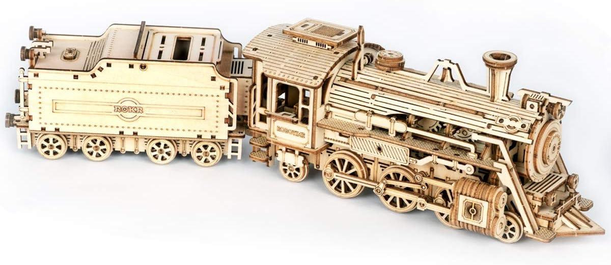 ROKR Tren Madera Maquetas para Construir - Maquetas para Montar - Set de Construcción Puzzle 3D para niños y Adultos (Prime Steam Express)