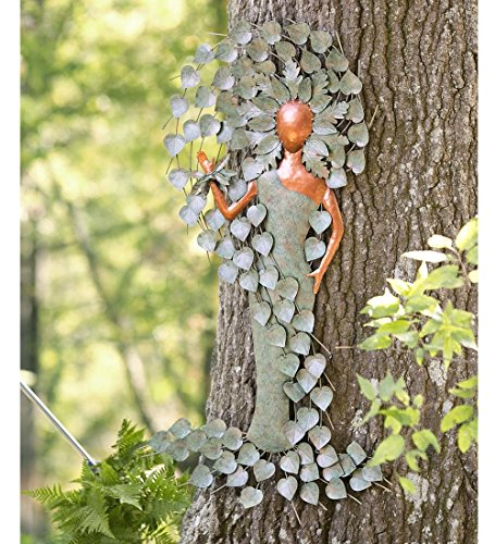Indoor Outdoor Green Woman Metal Tree Wall Art Spiritual Sculpture Decor 26.75 W x 49.75 H x 1.75 D