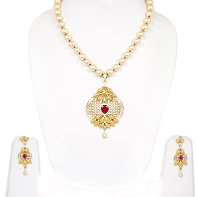Buy sanara traditional ruby stone made gold plated pendant sanara traditional ruby stone made gold plated pendant necklace earring set pearl string for girls party aloadofball Images