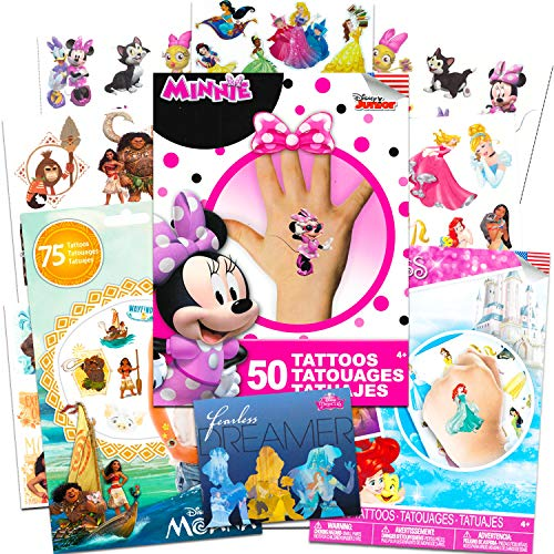 Disney Tattoos Party Favor Set For Girls -- Over 175 Temporary Tattoos Featuring Minnie Mouse, Disney Princess and Moana with Bonus Disney Princess Stickers (20 Disney Temporary Tattoo Sheets)]()