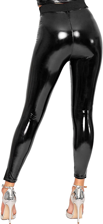 WearAll Damen Nass Aussehen Gl/änzend Pu Jeggings Hose Damen Hoch Tailliert Leggings 34-42