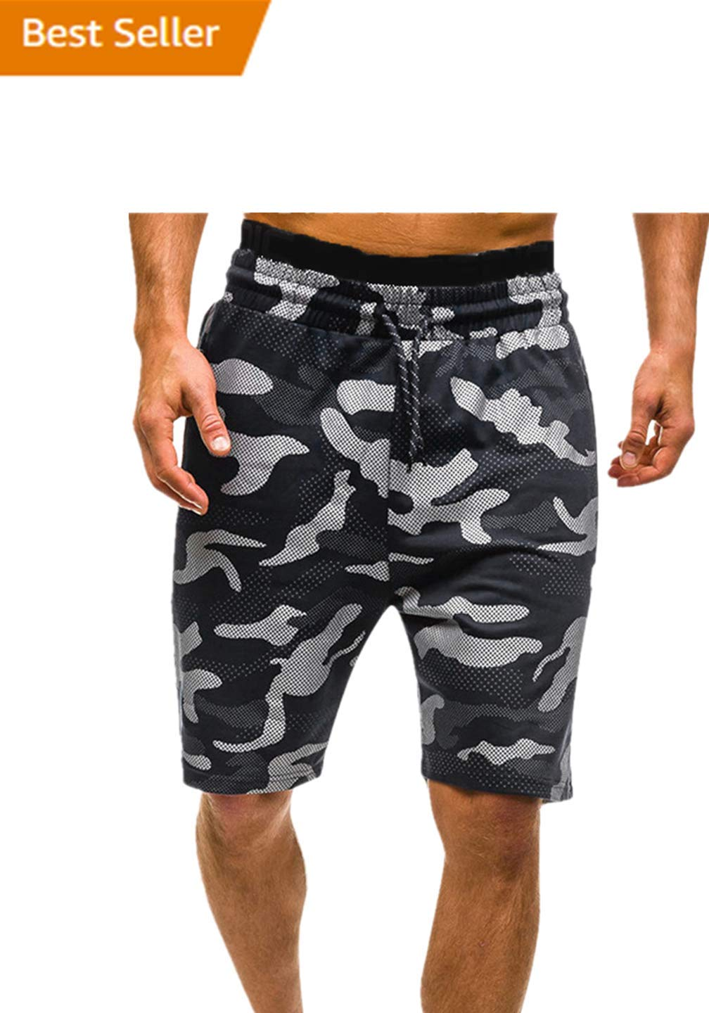 Hurrybuy Mens Cotton Relaxed Fit Camouflage Camo Cargo Shorts