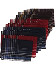 F Fityle Pack of 12 Plaids Pattern Handkerchiefs Soft Square Pocket Towel for Men