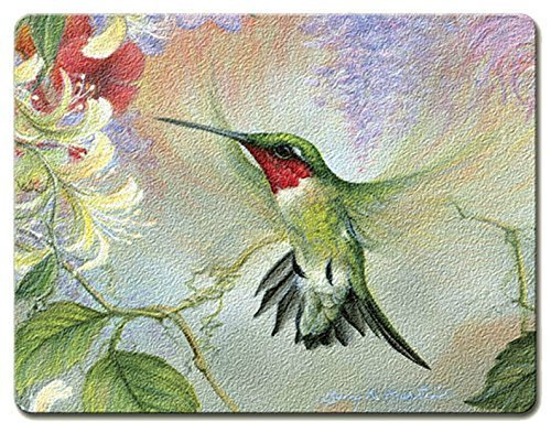 Ruby Hummingbird Natures Gift of Feathers Tempered Glass Large Cutting Board by Highland Graphics