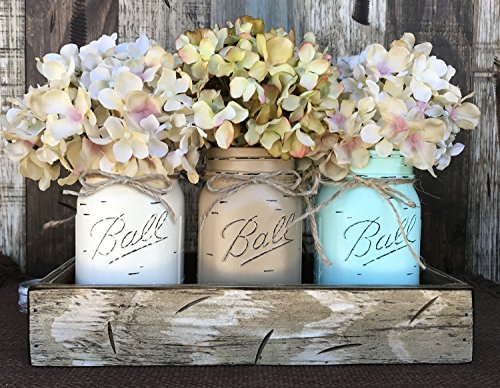 Mason Canning JARS in Wood Antique White Tray Centerpiece with 3 Ball Pint Jar - Kitchen Table Decor - Distressed Rustic - Flowers (Optional) - CREAM, COFFEE, SEAFOAM Painted Jars (Pictured)