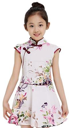 b416083a2 Amazon.com: Suimiki Girls Kids China Style Chinese Qipao Floral Cheongsam  Summer Mini Dress: Clothing
