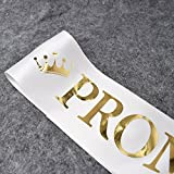 "TTCOROCK""Prom King"" and""Prom Queen"" Sashes - Graduation Party School Party Accessories, White with Gold Print"