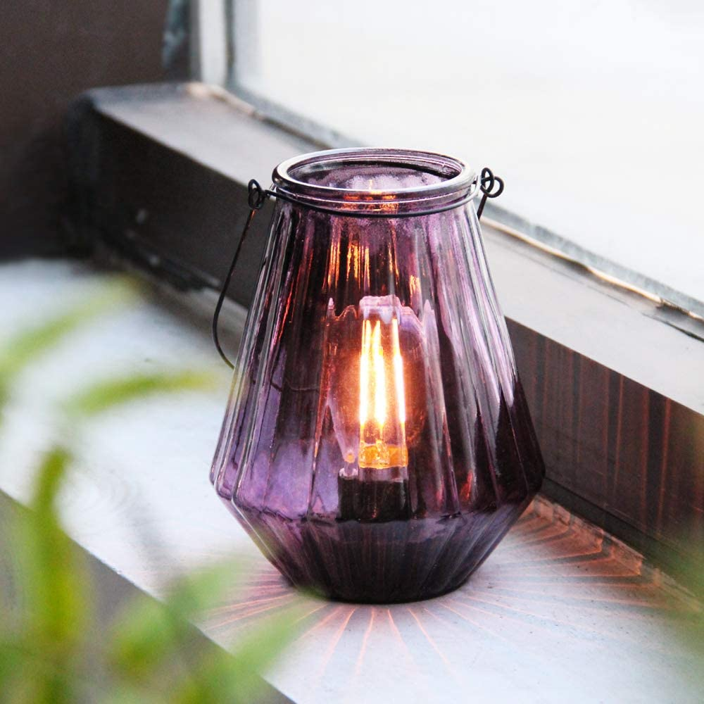 Battery Operated Lamp Hanging,Cordless LED Table Lamp with Timer, Decorative Lantern Lights Outdoor Indoor Decor for Patio/Home/Hallway/Deck/Spareroom/Bedroom/Tabletop/Fireplace/Vintage Style (Purple)