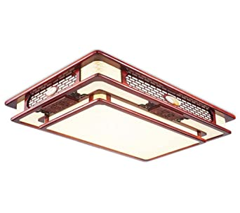 Style Rectangulaire Solide Plafonnier Chinois Bois Led 80XPnZwNkO