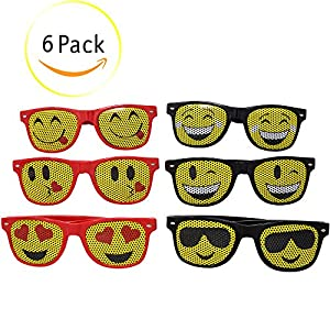 M & M Products Online Emoji Sunglasses For Kids: (6) Pairs of Children Sunglasses - Six Popular Designs With Lifetime Replacement Included - Great For Pool Parties, The Beach, Camp, Party Favors
