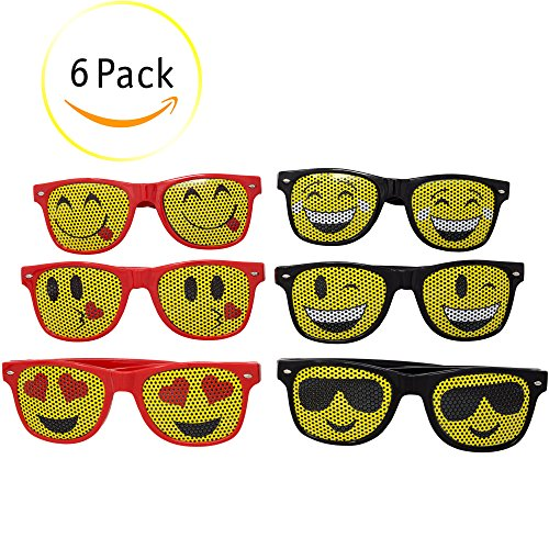 Emoji Sunglasses For Kids: (6) Pairs of Children Sunglasses - Six Popular Designs With Lifetime Replacement Included - Great For Pool Parties, The Beach, Camp, & Party Favors - M - Oblong Face Oval Or