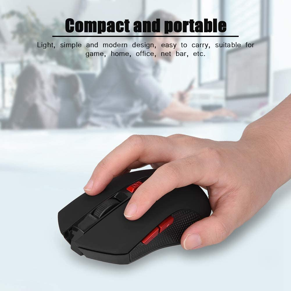 Precision Positioning Smooth Lightweight 6 Keys Mouse for Game//Home//Office//Net Bar fosa for PC//Laptop 2400DPI USB Wireless Mouse 2.4GHz Portable Optical Gaming Mouse Plug /& Play