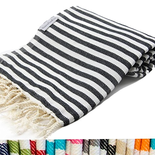 Black Striped Turkish Towel 100 Cotton For Beach Bath