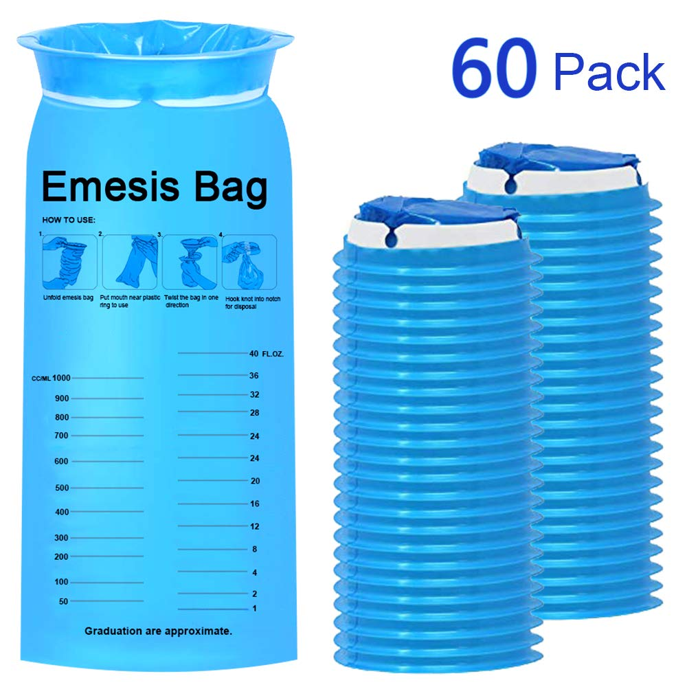TNELTUEB 60 Pack Blue Emesis Bags, Disposable Vomit Bags Nausea Bags for Travel Motion Sickness & Morning Sickness, Aircraft&Car Sickness Bag, on The go use (1000ml) by TNELTUEB