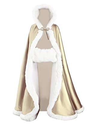 f075fe7e17 Amazon.com: Wedding Cape Hooded Cloak for Bride Winter Reversible with Fur  Trim Free Hand Muff Full Length 50 55 inches (19 Colors): Clothing