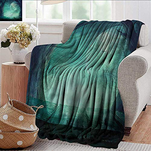 Xaviera Doherty Travel Throw Blanket Halloween,Spooky Forest Halloween Microfiber All Season Blanket for Bed or Couch Multicolor 30