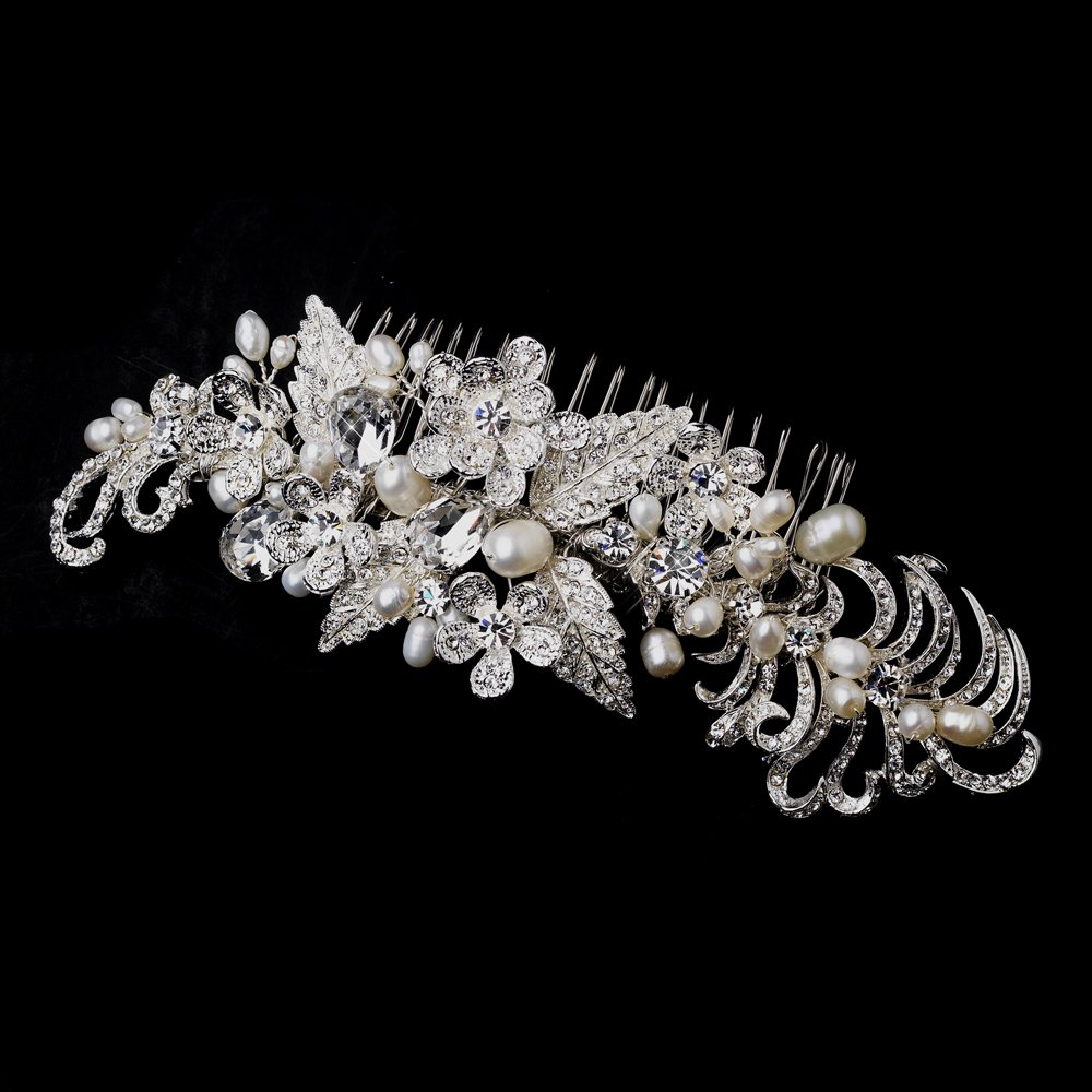 Kayla Silver and Freshwater Pearl Hair Side Wedding Bridal Occasion Comb