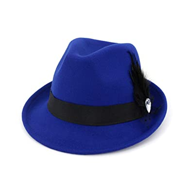 b9e63508bf725 Image Unavailable. Image not available for. Color  2019 Felt Fedora for Men  Cotton Vintage Wide Brim Top Church Dress Hats Women Elegant with