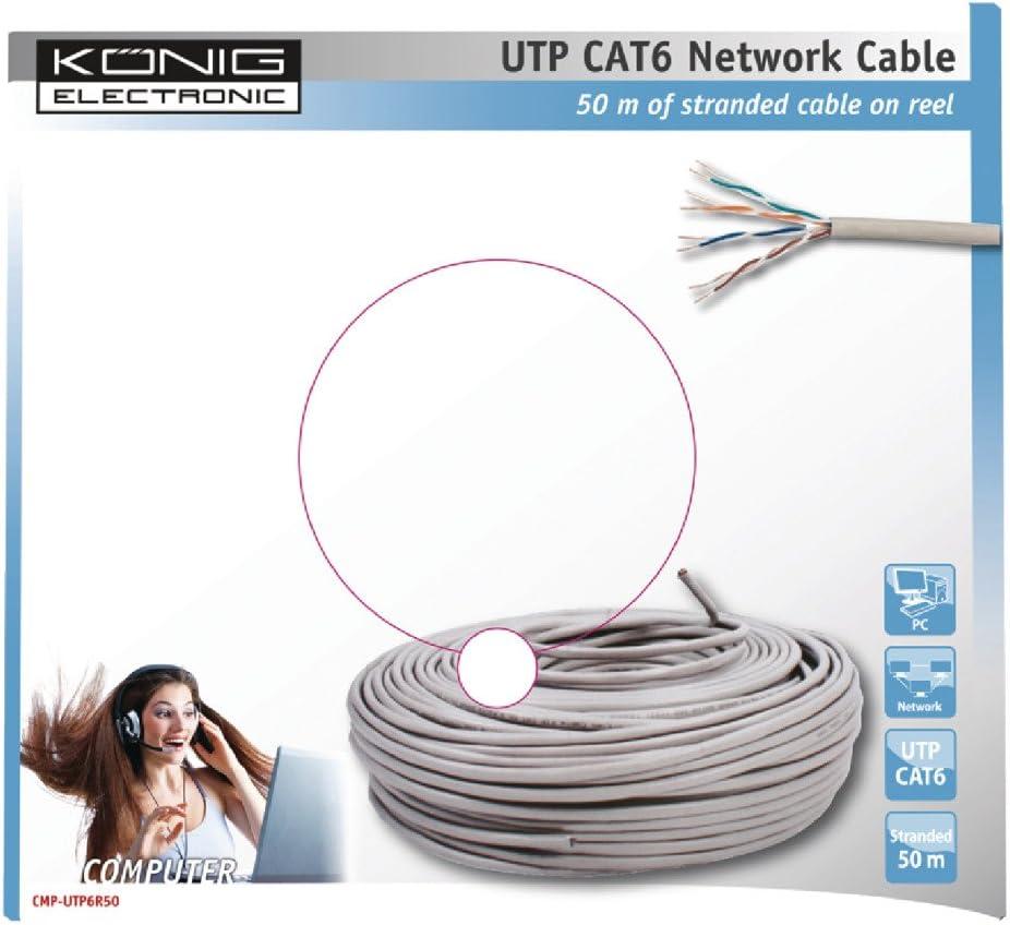 König CMP-UTP6R50 - Cable Ethernet de 50 Metros, Gris