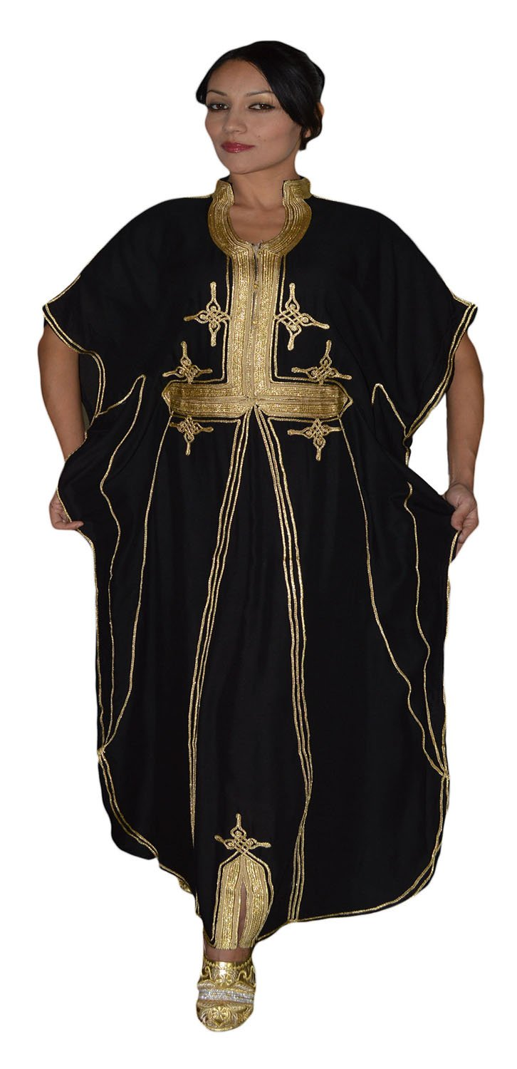 Moroccan Caftan Hand Made Breathable Cotton with Gold Hand Embroidery Long Black