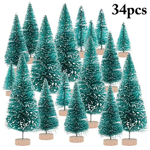 Fascigirl 34PCS Mini Christmas Tree Artificial Frosty Tabletop Ornament Christmas Decor