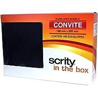 Scrity CCP 470.12 Envelope Convite, Preto, 160X235mm, Pacote com 100