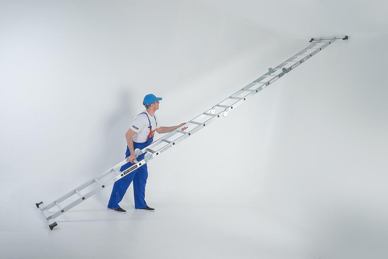 WORHAN/® 5.7m Escalera Multiuso Multifuncional Plegable 570cm Tijera Bisagra Grande Aluminio con 2 Estabilizadores Nueva Generaci/ón Calidad Alta KS5.7