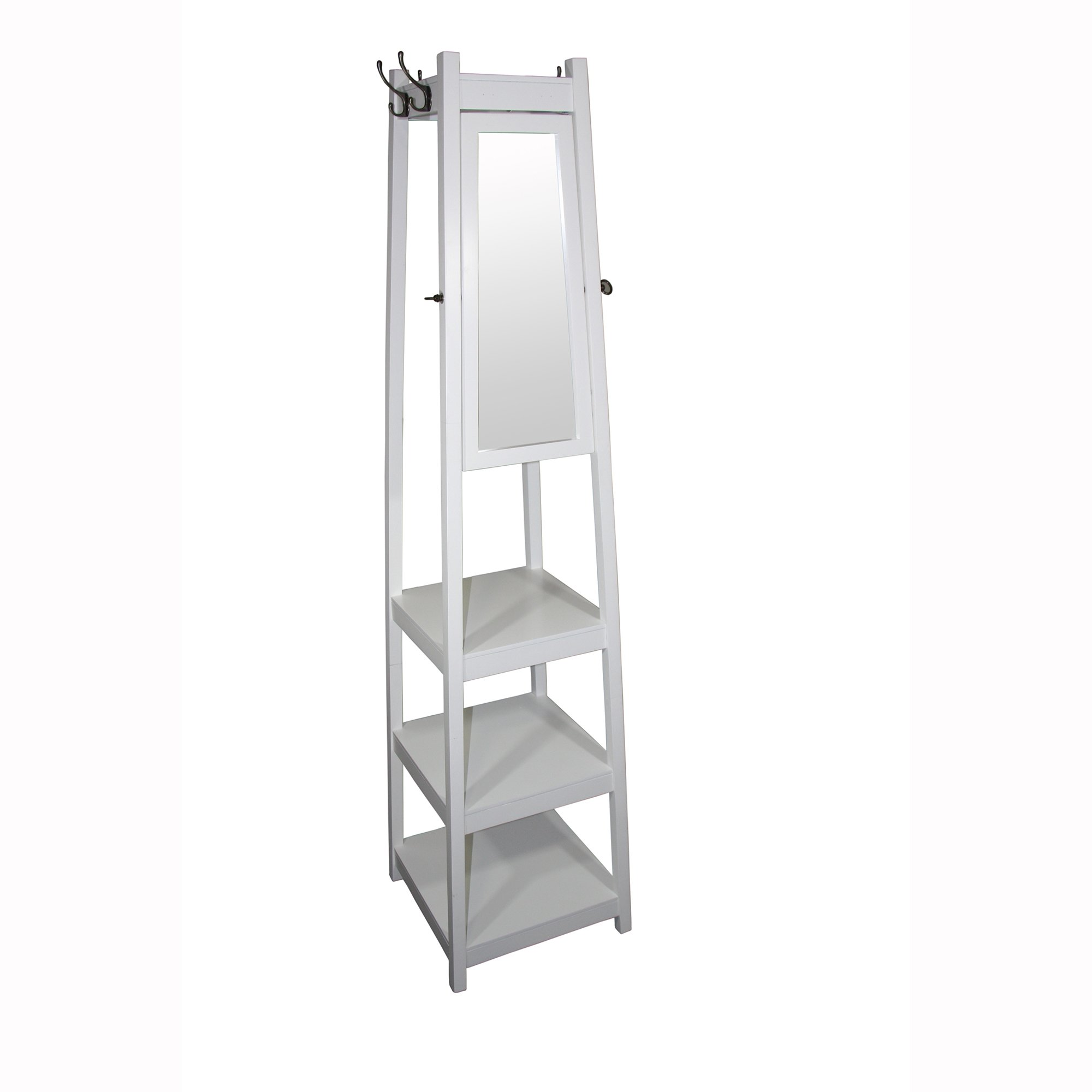 Ore International FW1394W 3-Tier Tower Shoe/Coat Rack and Mirror, 72'', White