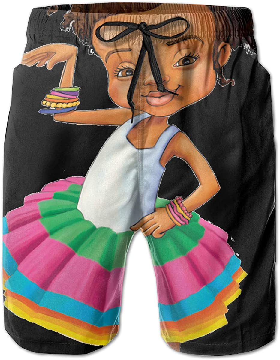 HFSST Afro Puff Princess Baby Girl Crown American Mens Swim Trunks Bathing Suit Shorts Board Beach