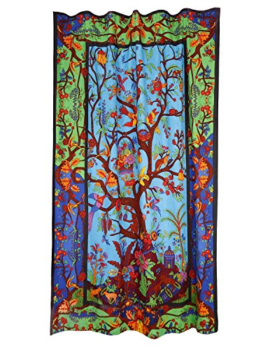 Sunshine Joy 3D Colorful Tree of Life Curtain Single Panel 56x85 Inches - Amazing 3D Effects (India Curtain Panels)