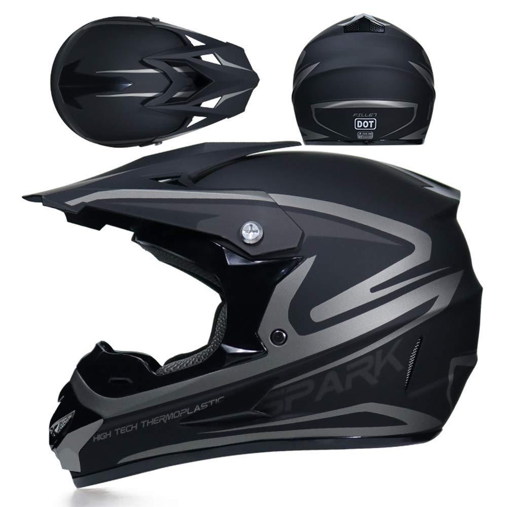 NJMSC Moto Motocross Caschi e GUANTI e occhiali DOT bambini Quad Bike di serie ATV Go Kart del casco 52~53 centimetri nero argento S 52~53 centimetri S