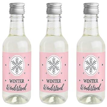 Pegatinas para botella de vino y champán de Pink Winter Wonderland ...