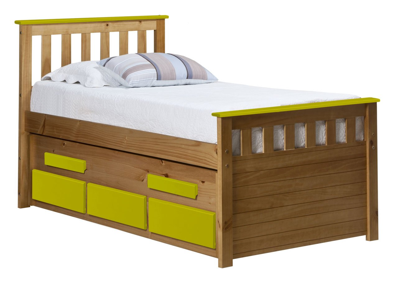 Design Vicenza Captains Bergamo Gästebett lang 3 Ft Antik mit Lime Details