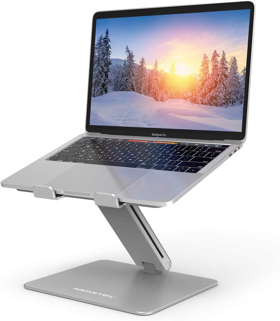 Laptop Stand, AboveTEK Adjustable Computer Riser for Desk, Compatible with Mac MacBook Pro Air Notebook, Up to 17 inches, Supports Up to 44 Lbs -Silver