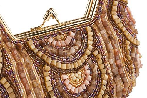 Pochette RMA 28 Oro, pochette in tessuto con ricami in pietre e perline