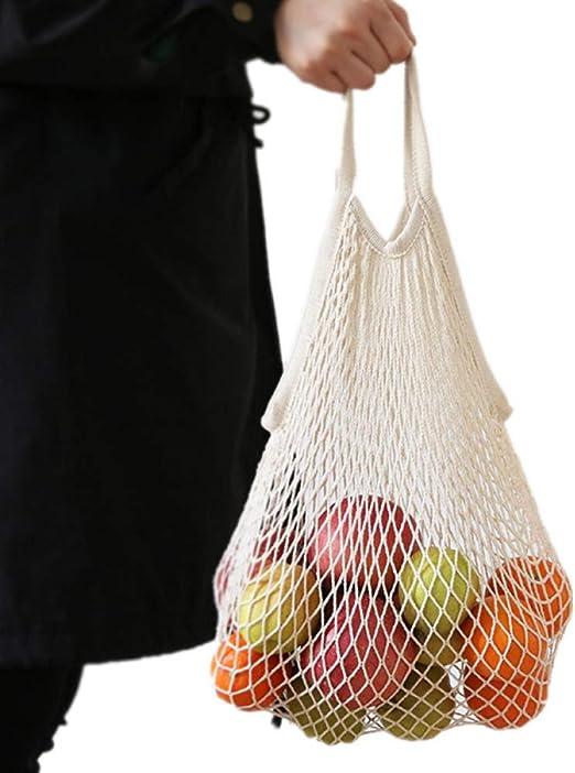 HJKLTYU Bolsa Tejida Neta de Malla de algodón Beige Frutas ...