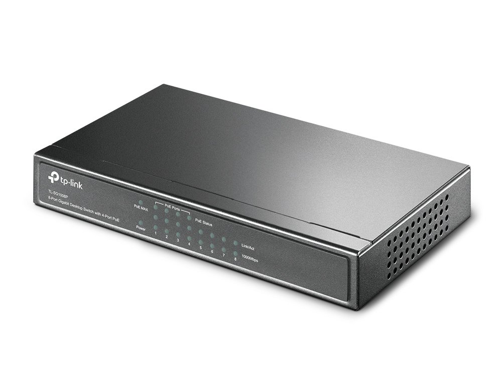 Sturdy Metal TP-Link PoE Switch Gigabit 8 Port 802.3af Compliant Plug and Play TL-SG1008P Shielded Ports Traffic Optimization 4 Port PoE 55W