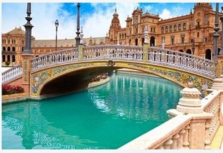 ZZXSY Adulto Puzzle 1000 Piezas Sevilla Sevilla Plaza De España ...