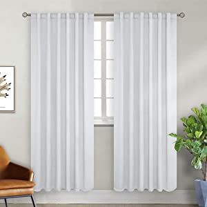 BGment White Curtains for Bedroom - Rod Pocket and Back Tab Thermal Insulated Room Darkening Curtains for Living Room, 2 Panels Set, 52 x 72 inch, Greyish White