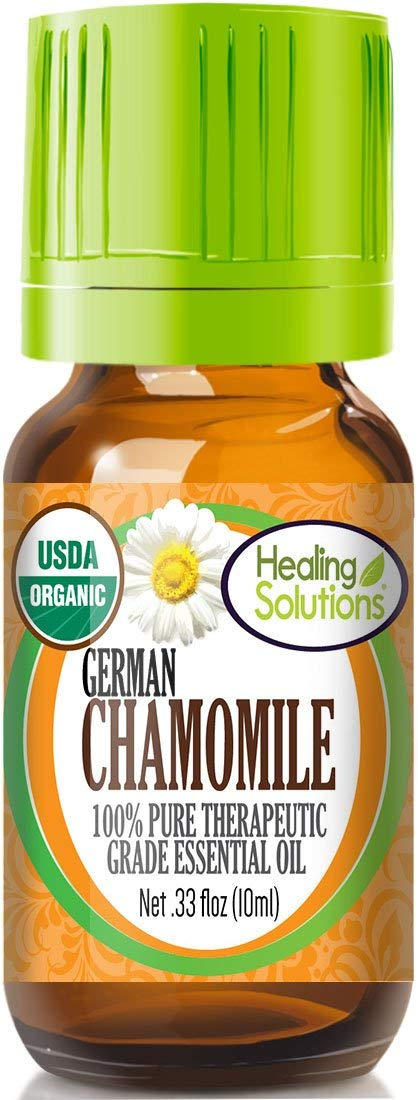 Organic Chamomile German Essential Oil (100% Pure - USDA Certified Organic) Best Therapeutic Grade Essential Oil - 10ml by Healing Solutions