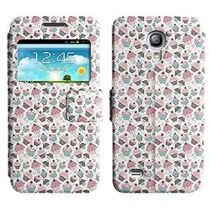 Be-Star Diseño Impreso Colorido Slim Casa Carcasa Funda Case PU Cuero - Stand Function para Samsung Galaxy S4 mini / i9190 / i9192 ( Many Cupcakes )