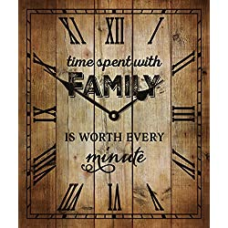Time Spent With Family Vintage Wood Look Wall Clock