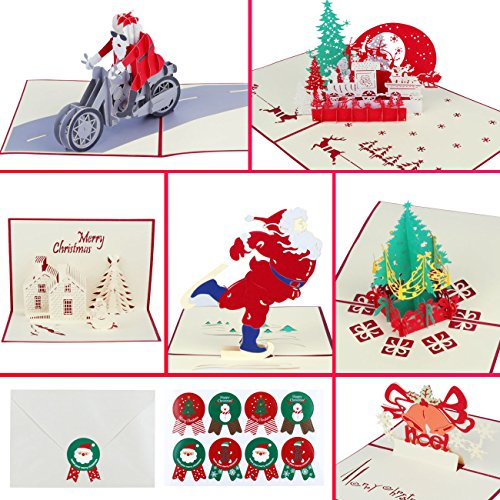 Christmas Cards Pop UP 3D Greeting cards Set of 6 Cards & Envelopes & Stickers for Christmas, Holiday, New Year, Festival