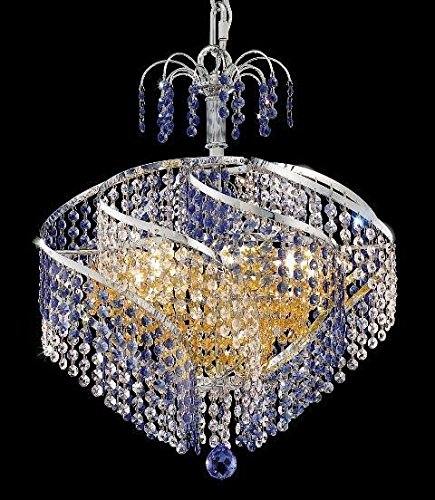 Elegant Lighting 8053D18C/RC Spiral Collection 8-Light Hanging Fixture with Royal Cut Crystals, Chrome Finish ()