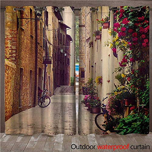 WilliamsDecor Cityscape 0utdoor Curtains for Patio Waterproof Street in Pienza Tuscany Italy with Hanging Basket Plants Flowers Bicycles Picture W72 x L96(183cm x 245cm) ()