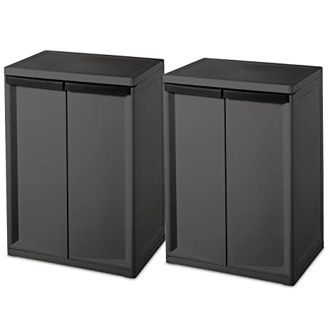 Sterilite 2 Shelf Laundry Garage Utility Storage Cabinet Flat Gray 0140 (2 Pack)  sc 1 st  Amazon.com : laundry cabinet flat pack - Cheerinfomania.Com
