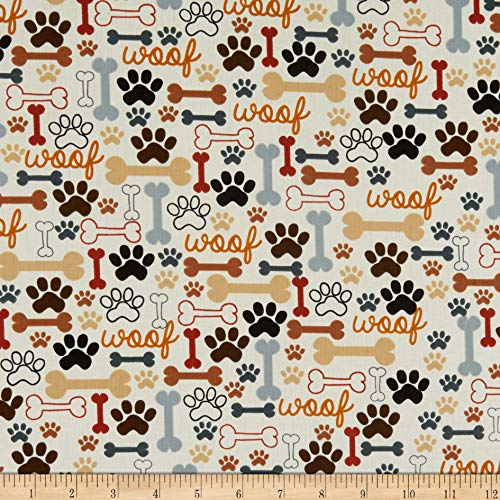 Timeless Treasures Dog Bones & Paw Prints Cream Fabric by The Yard ()